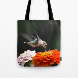 Hummingbird and Flowers Tote Bag