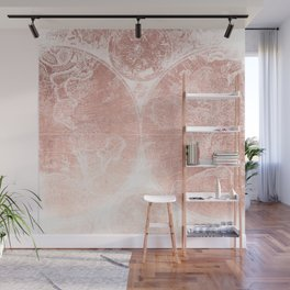 Antique World Map White Rose Gold Wall Mural