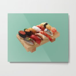 Nigiri Sushi Platter Polygon Art Metal Print