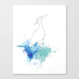 Watercolor and Crane Canvas Print