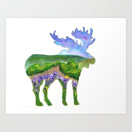 Moose Silhouette Flowery Meadow Art Print