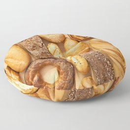 Bread baking rolls and croissants background Floor Pillow