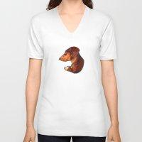dachshund V-neck T-shirts featuring Dachshund by Kendra Aldrich
