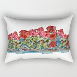 Red Geraniums painting Rectangular Pillow