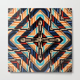Rhombuses with cross (red-yellow-blue) Metal Print