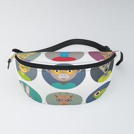 Set of animals faces circle icons set in Trendy Flat Style. zoo Fanny Pack
