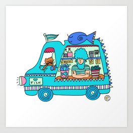 fish and chips food truck Art Print