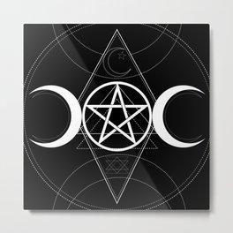 Triple Moon Pentagram Metal Print