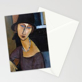 Amadeo Modigliani / Jeanne hebuterne with hat and necklace Stationery Cards