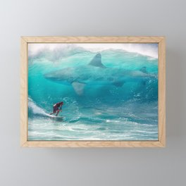 Surfing with a Giant Shark Framed Mini Art Print