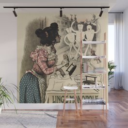 Vintage French linen advertising Wall Mural