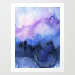 Abstract Mountains Purple Watercolor Art Print