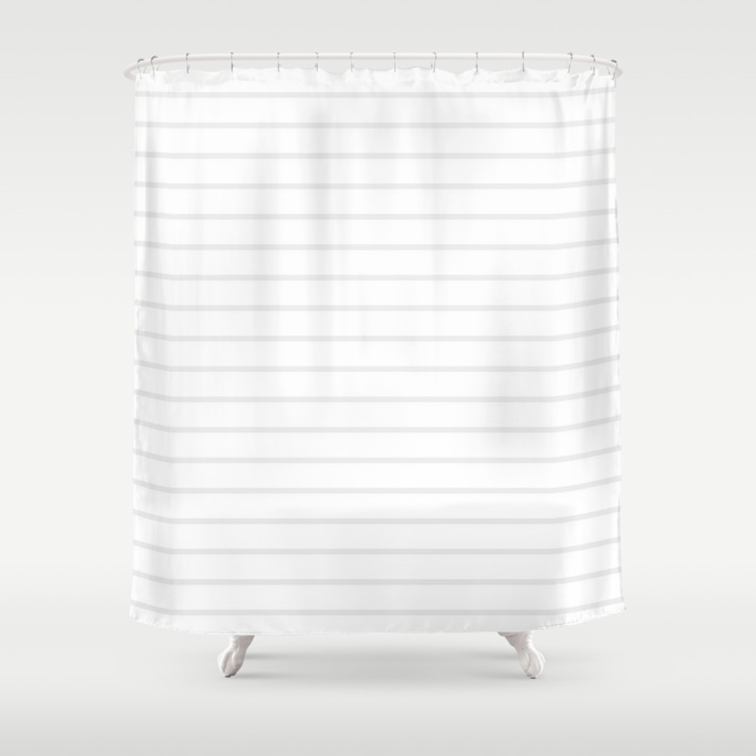 White And Grey Horizontal Stripes Shower Curtain