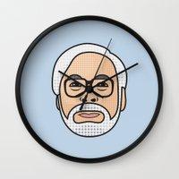 hayao miyazaki Wall Clocks featuring Hayao Miyazaki Portrait - Blue by Cedric S Touati