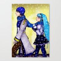 vocaloid Canvas Prints featuring VOCALOID Kaito x Miku by Minnie Dreamer