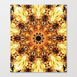 Yellow Brown Mandala Abstract Flower Canvas Print