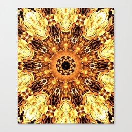 Yellow Brown Mandala Abstract Flower Canvas Print