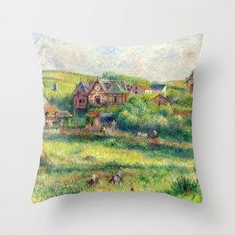 """Pierre-Auguste Renoir """"Le châlet de Blanche Pierson à Pourville"""" Throw Pillow"""