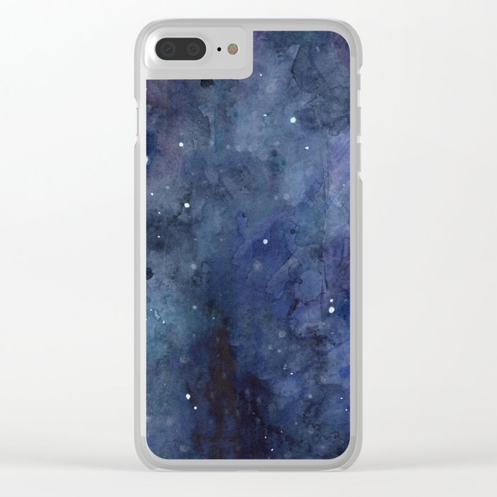 Night Sky Stars Galaxy   Watercolor Nebula Clear iPhone Case