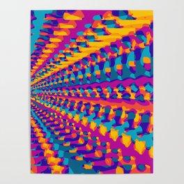blue pink purple green orange yellow geometric graffiti painting abstract background Poster