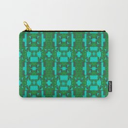 Aqua and Moss Green Geometric Healing Pattern Carry-All Pouch