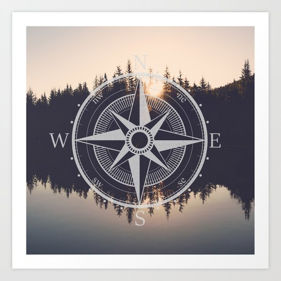 Wooded Lake Reflection Compass Art Print
