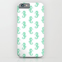 Seahorses (Mint & White Pattern) iPhone Case