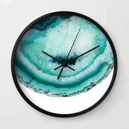 turquoise agate slice Wall Clock