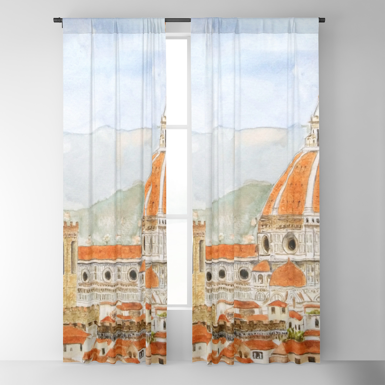 Italy Florence Cathedral Duomo Watercolor Painting Blackout Curtain By Colorandcolor Society6