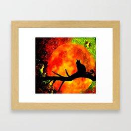 BLACK CAT HARVEST MOON 2018 Framed Art Print