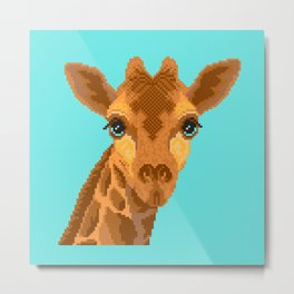 Modern pixel giraffe head on cyan background Metal Print