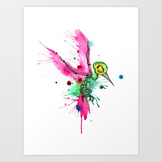 Hummingbird Skeleton Watercolor/Pen&Ink Art Print