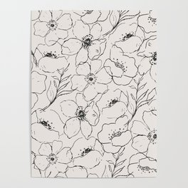 Floral Simplicity - Neutral Black Poster