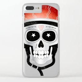Halloween Cyclist Sugar Skull Clear iPhone Case
