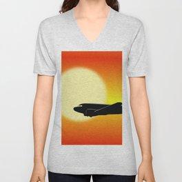 DC-3 passing sun Unisex V-Neck