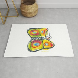 Colourfull butterfly illustration for kids Rug