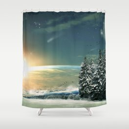 Winter Village At Night With Globus Sunrise At Horizon Ultra HD Shower Curtain