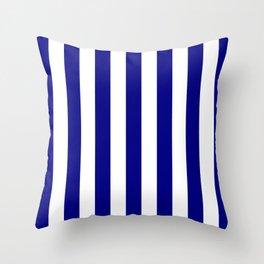 Vertical Stripes (Navy Blue/White) Throw Pillow