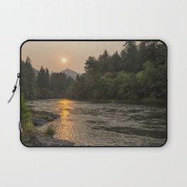 Fire Sunrise on McKenzie River Laptop Sleeve