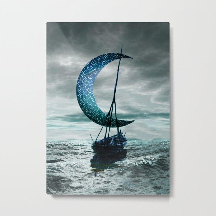 Boat and Moon Metal Print