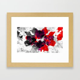Abstract floral design, red bougainvilleas over monochrome Framed Art Print