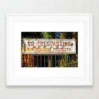cosima Framed Art Prints featuring No Trespassing by Cosima Higham