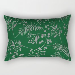 Forest green country chic faux silver floral leaves Rectangular Pillow