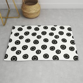 Black and White Abstract Circle Pattern Rug