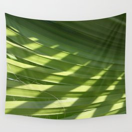 Ruffled Fan Palm Glossy Pleated Fronds Shadow Photograph Wall Tapestry