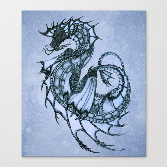 """Tsunami"" by Amber Marine ~ Sea Dragon (Ice Blue Version) ~ Graphite/Charcoal Illustration, (c) 2005 Canvas Print"