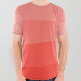 Diagonal Living Coral Gradient All Over Graphic Tee