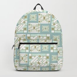 Mosaic Pattern 2. mint, gold, white, mosaic, decor, art,  Society6. Backpack
