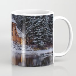 Cabin in Winter Woods (Color) Coffee Mug