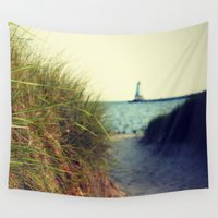 dune Wall Tapestries featuring Lake Michigan Dune Grass by KimberosePhotography